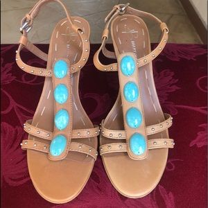 Tan beaded Cone healed sandals-9M-L@@k